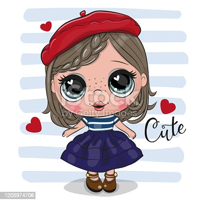 istock Cute cartoon Girl in red beret 1205974706