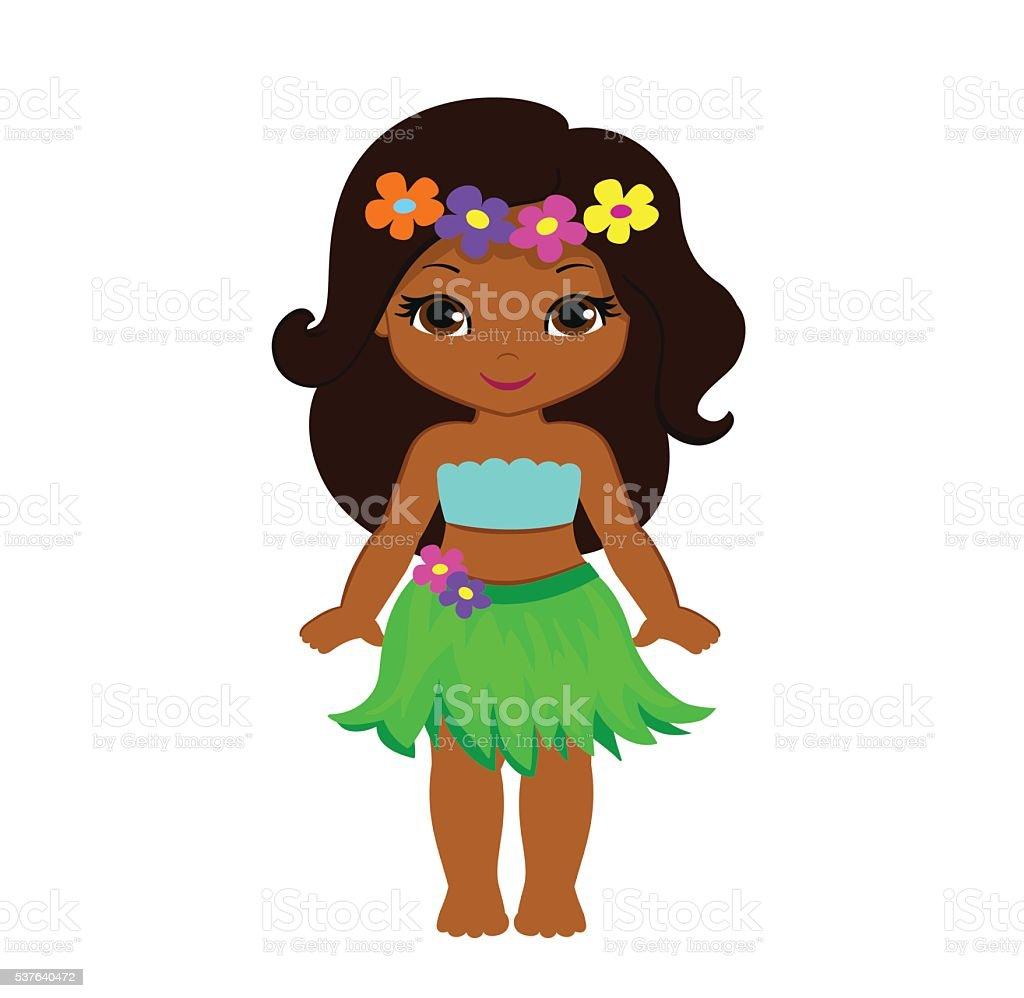 Cute Cartoon Girl In Traditional Hawaiian Dancer Costume