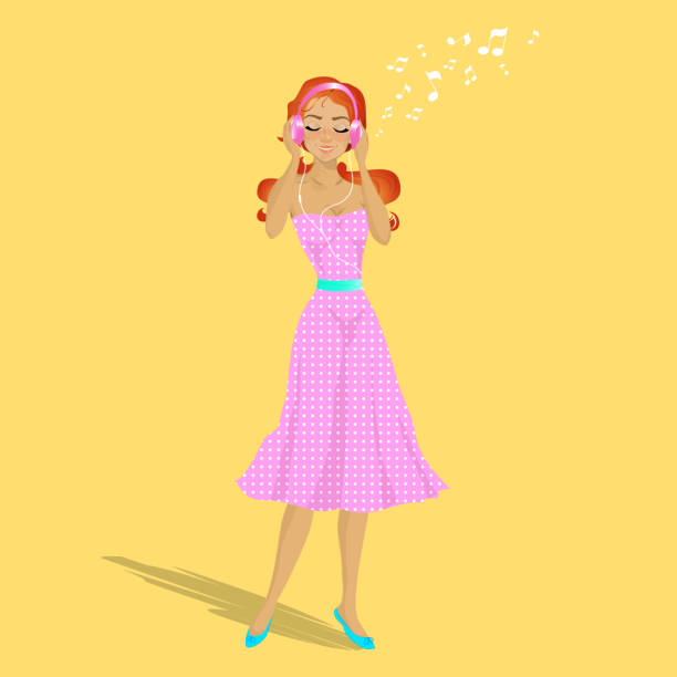 Free Download Cartoon Girl Listening To Music With ...