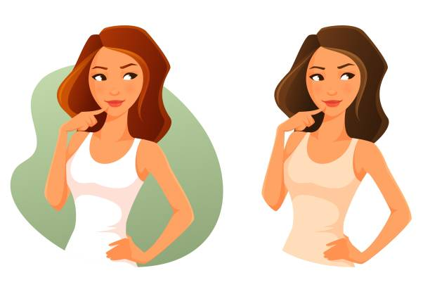 cute cartoon girl looking up, thinking or making decision - brown hair stock illustrations