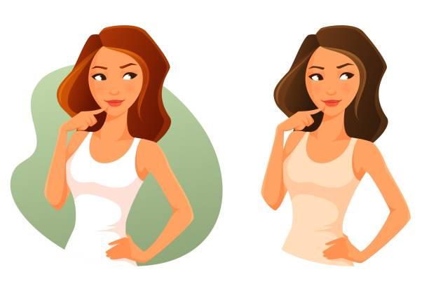 ilustraciones, imágenes clip art, dibujos animados e iconos de stock de chica de dibujos animados lindo mirando hacia arriba, pensamiento o decisión - cabello castaño