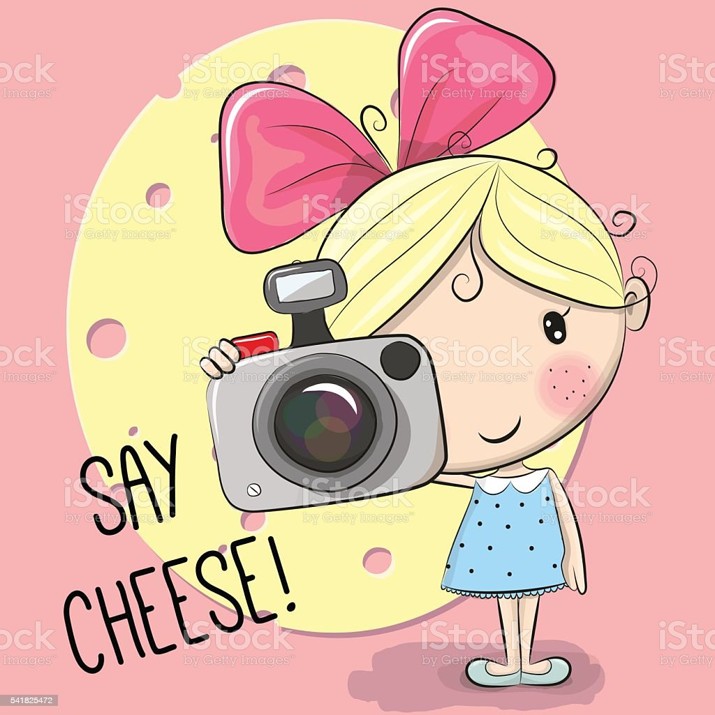 cute cartoon girl with a camera stock vector art amp more