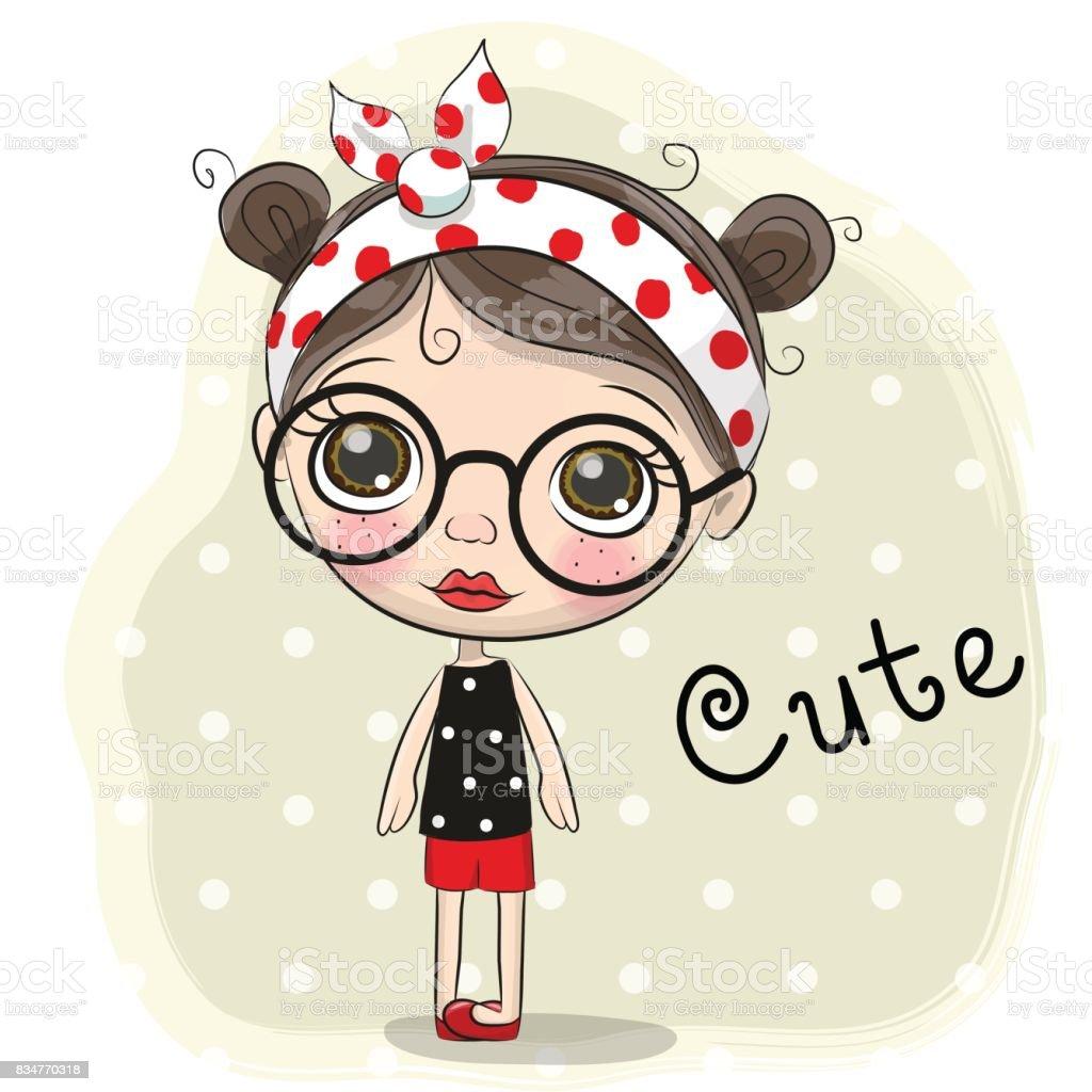 Fabuloso Linda Garota De Desenhos Animados Com Um óculos - Arte vetorial de  AI67