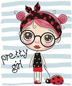 Cute Cartoon Girl with big glasses