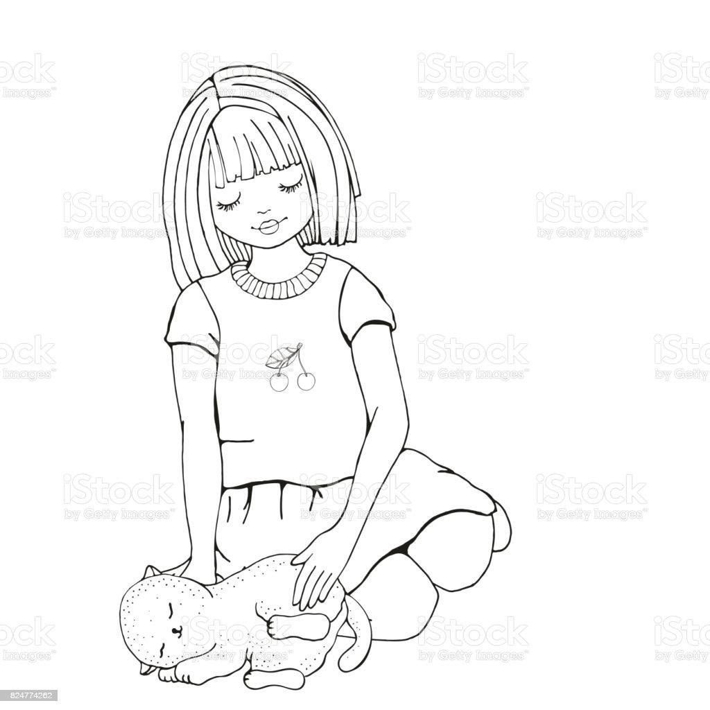 Fille De Dessin Anime Mignon Avec Chat Page De Livre De Coloriage Pour Adultes Et Enfants Vector Noir Et Blanc Vecteurs Libres De Droits Et Plus D Images Vectorielles De 8 9 Ans