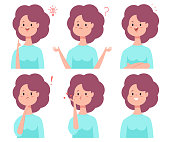 Girl vector cartoon character set with emotions.