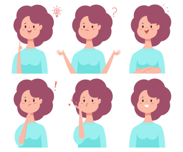 Cute cartoon girl with different emotions: smile, puzzled, thinking, confused, in love and with idea. Vector flat woman character set isolated on a white background. Girl vector cartoon character set with emotions. confused face stock illustrations