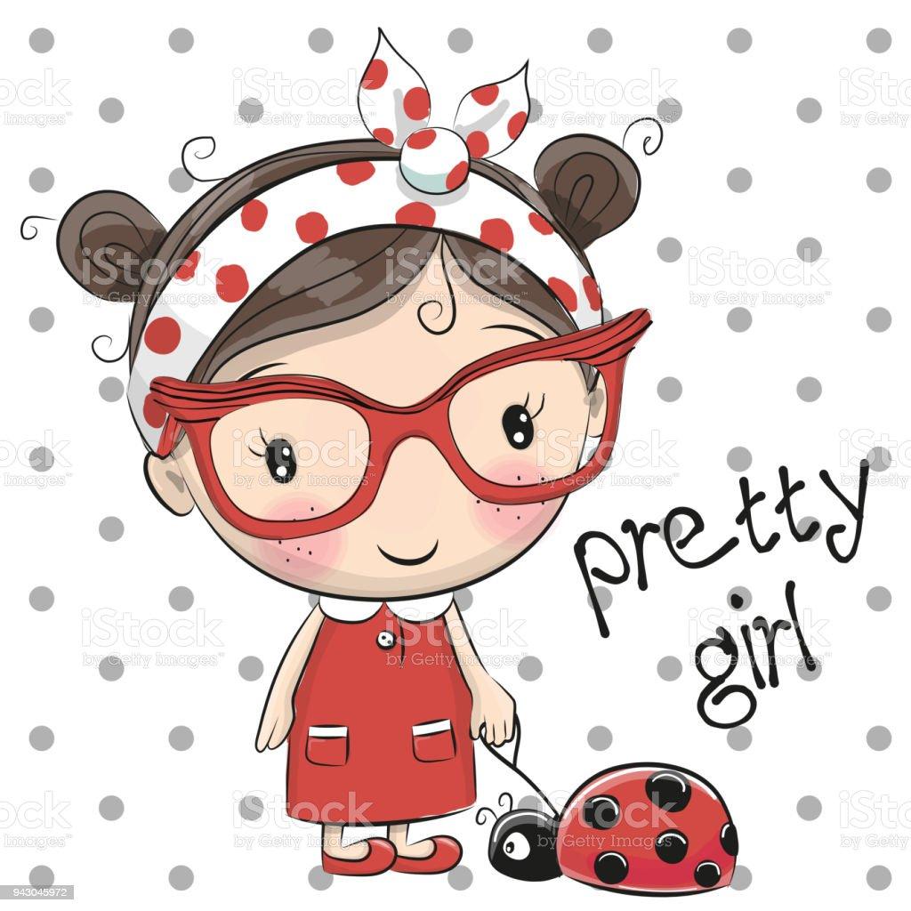 Gözlüklü şirin çizgi Film Kız Stok Vektör Sanatı Animasyon