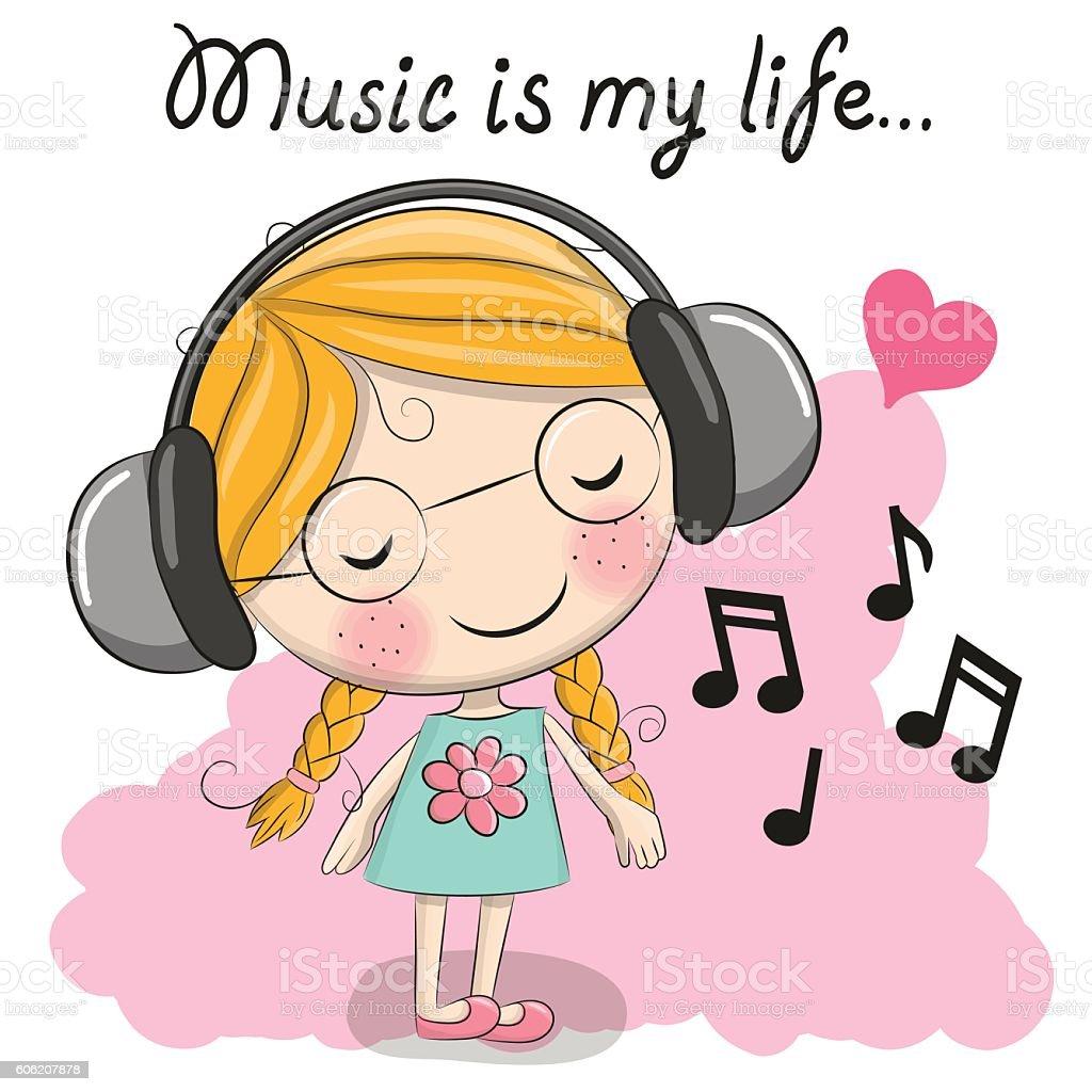 cute cartoon girl with headphones stock vector art & more images of