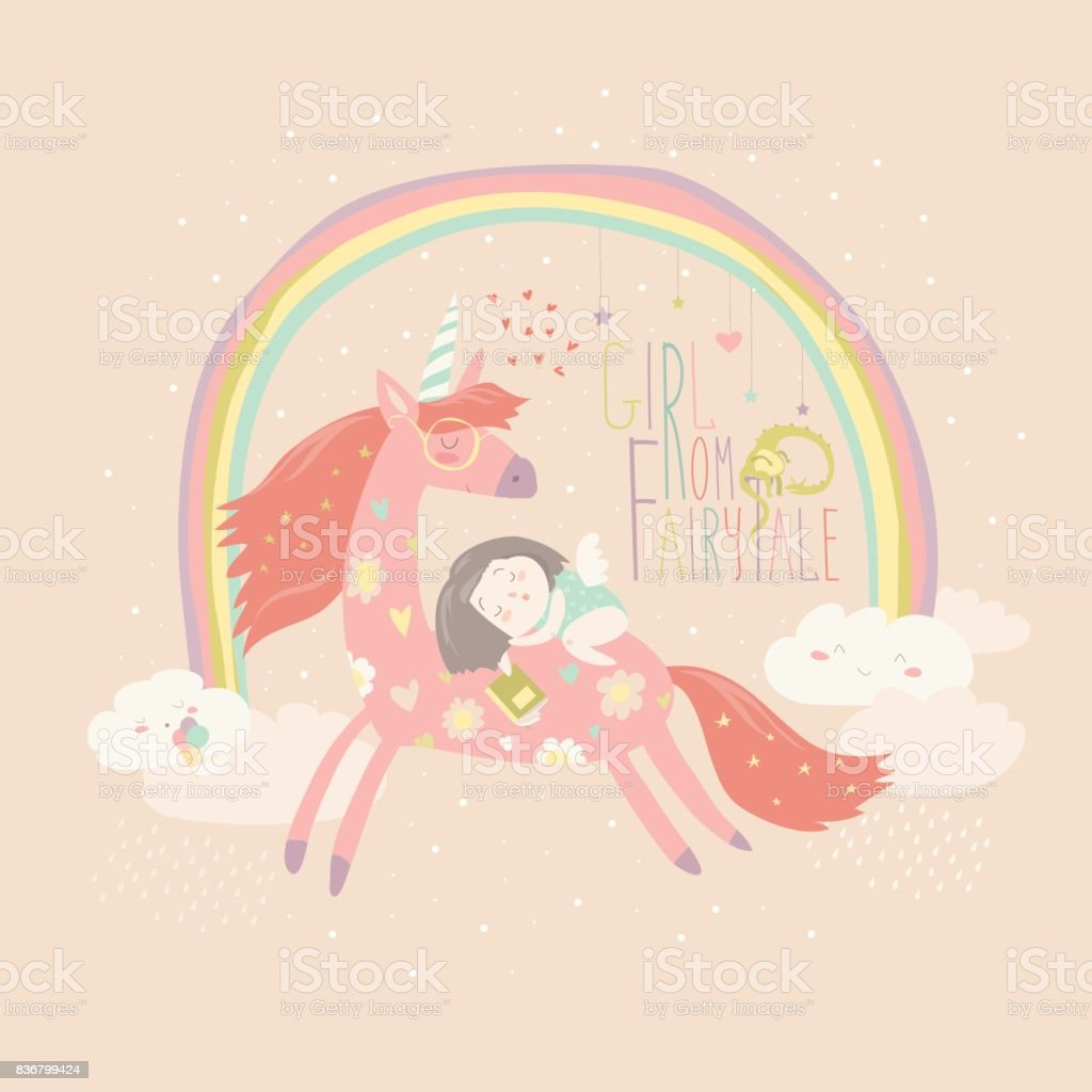 Cute cartoon girl with unicorn vector art illustration