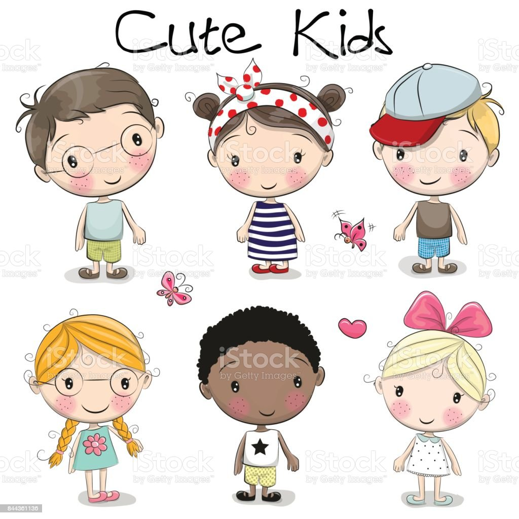 Cute cartoon girls and boys - illustrazione arte vettoriale