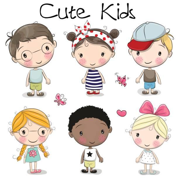 cute cartoon girls and boys - maluch stock illustrations