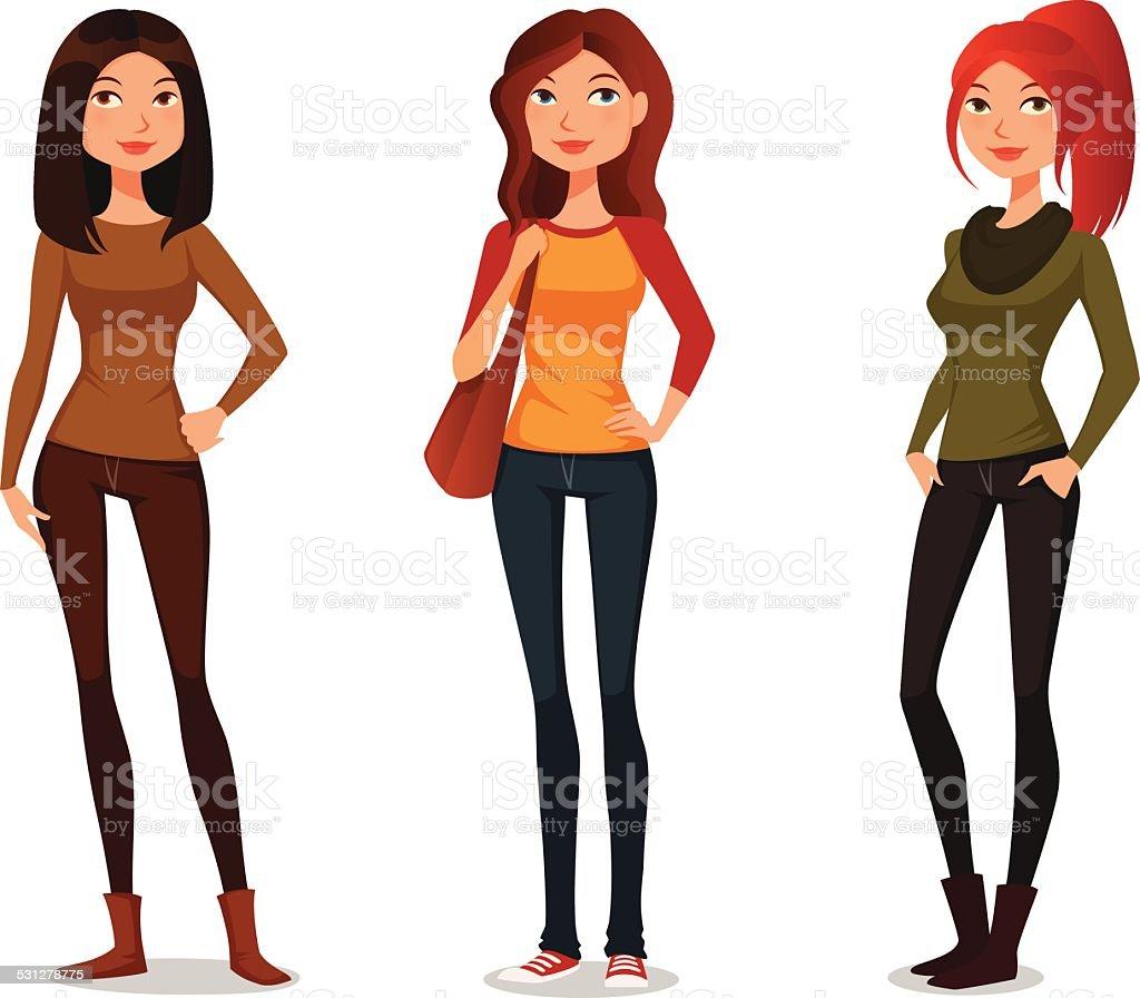 cute cartoon girls in autumn fashion vector art illustration