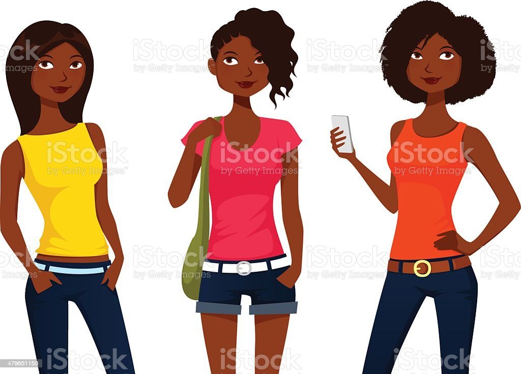 cute cartoon girls in colorful summer clothes vector art illustration