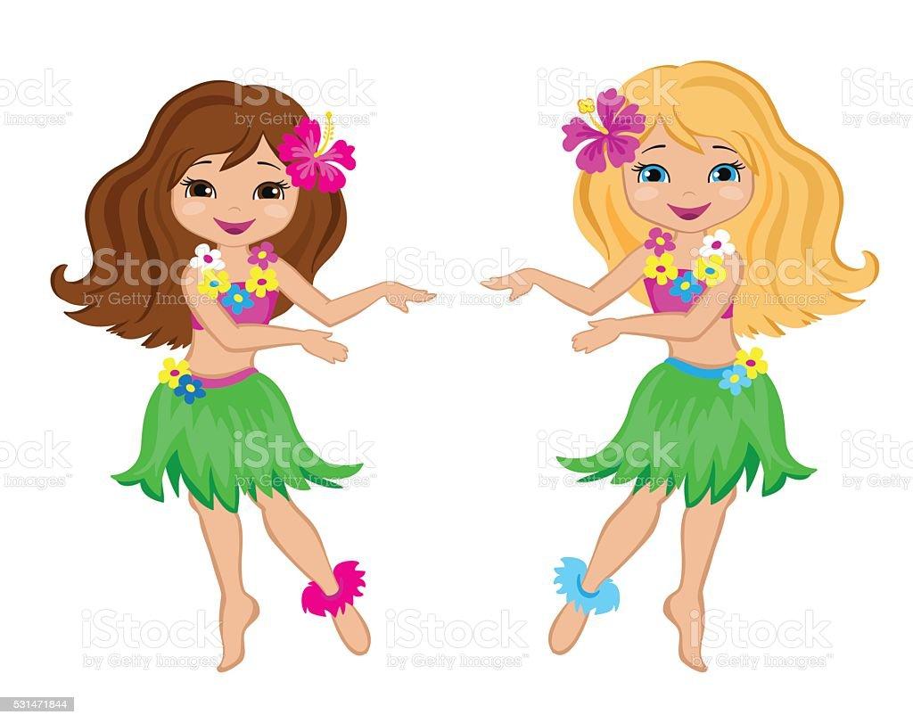 Joli Filles En Dessin Anime En Costume Traditionnel Danse Hawaienne