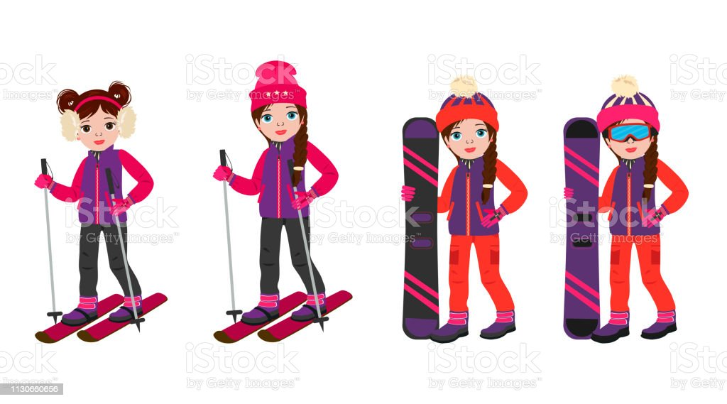 Cute cartoon girls in winter sport clothes clothes with snowboarding...