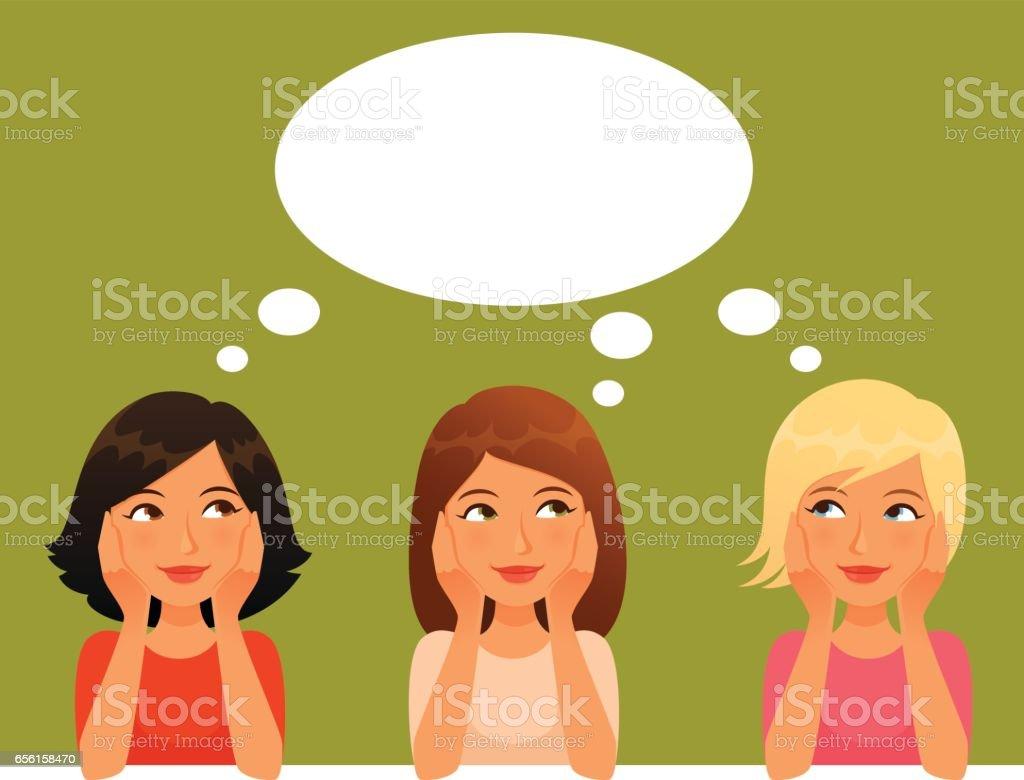 niedlichen Cartoon Mädchen, nachschlagen, denken – Vektorgrafik