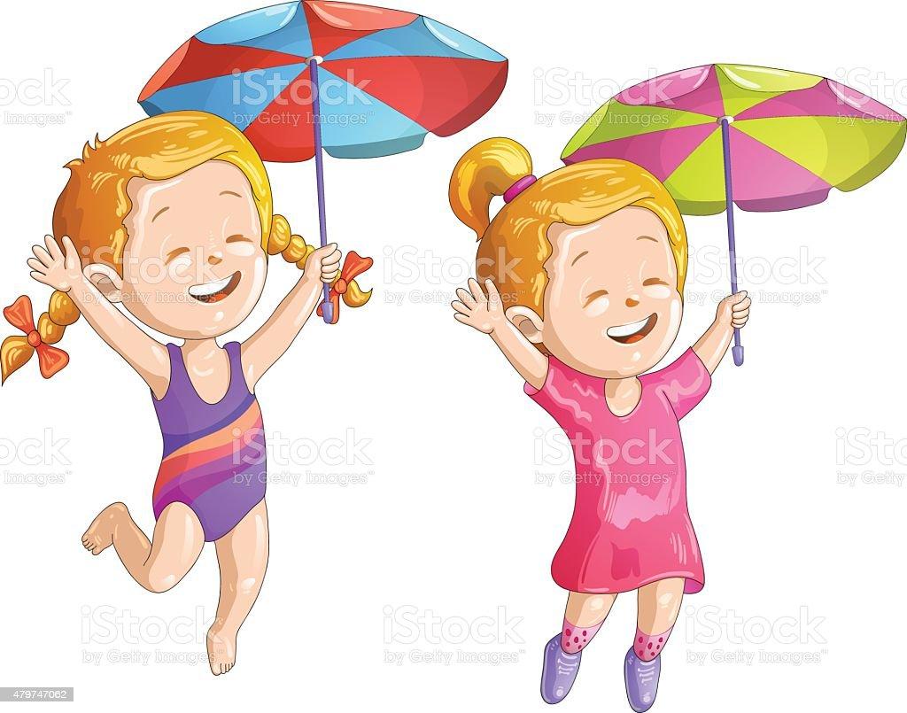 Jolie Fille De Dessin Animé Avec Parasol Et Maillot De Bain