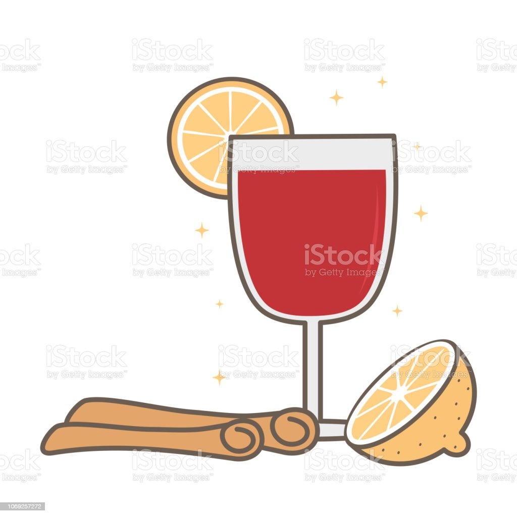 cute cartoon glass of mulled wine with cinnamon sticks and orange vector illustration vector art illustration