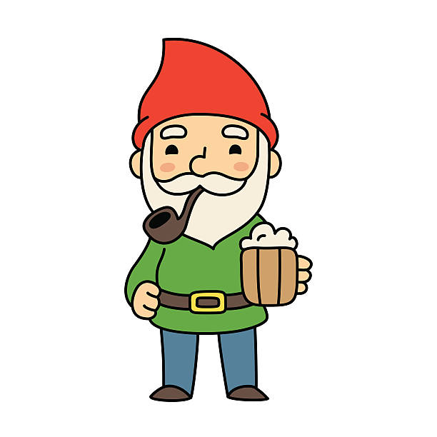 cute cartoon gnome with beer - old man smoking pipe cartoons stock illustrations, clip art, cartoons, & icons