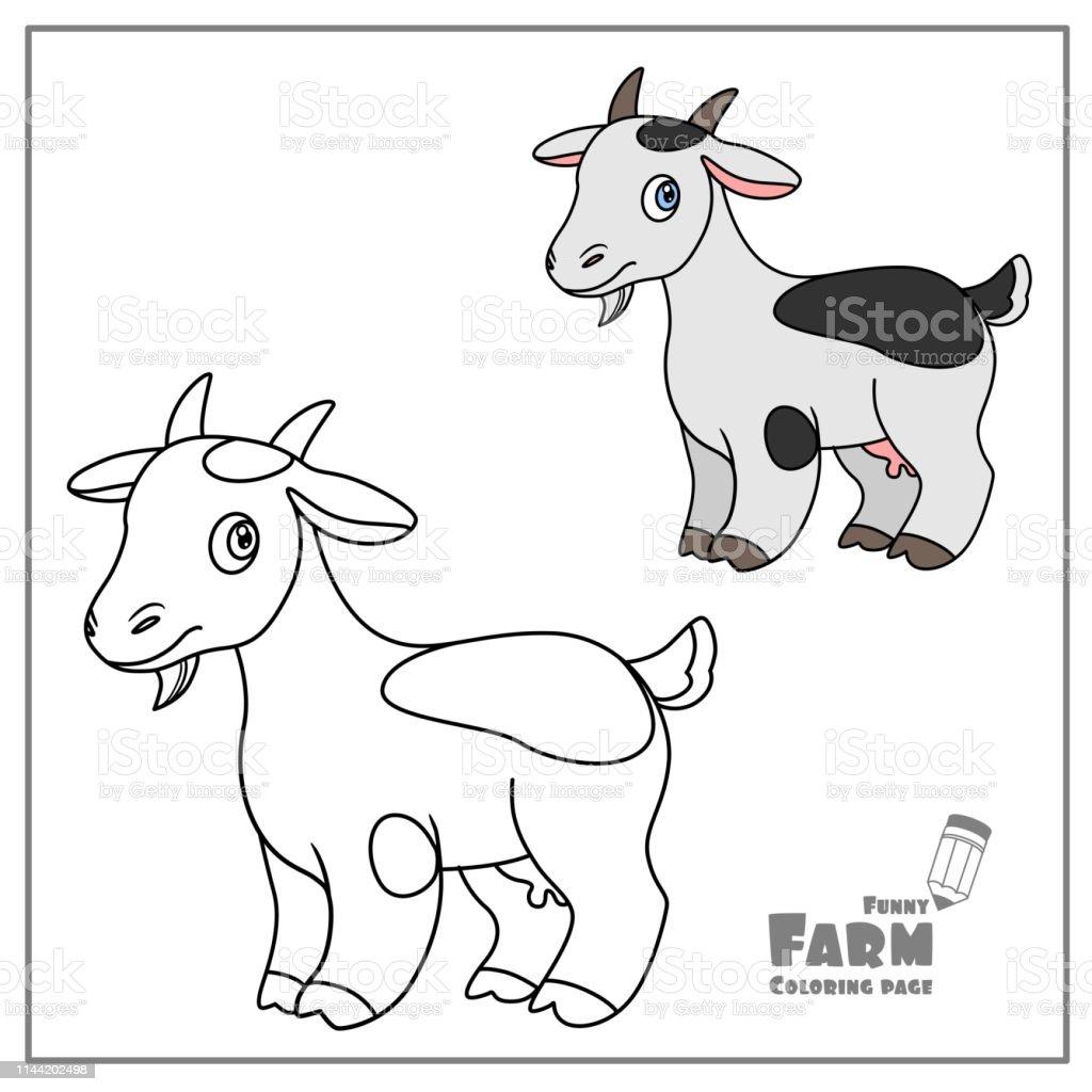 Sevimli Karikatur Keci Rengi Ve Sayfa Boyama Icin Beyaz Bir Arka