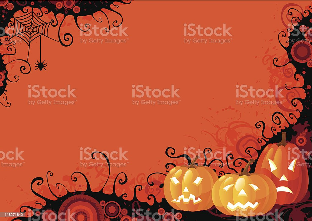 Cute cartoon graphic of orange and black Halloween pumpkins royalty-free stock vector art