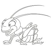 cute cartoon grasshopper