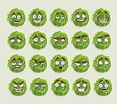 Cute cartoon green cabbage smile with many expressions icons