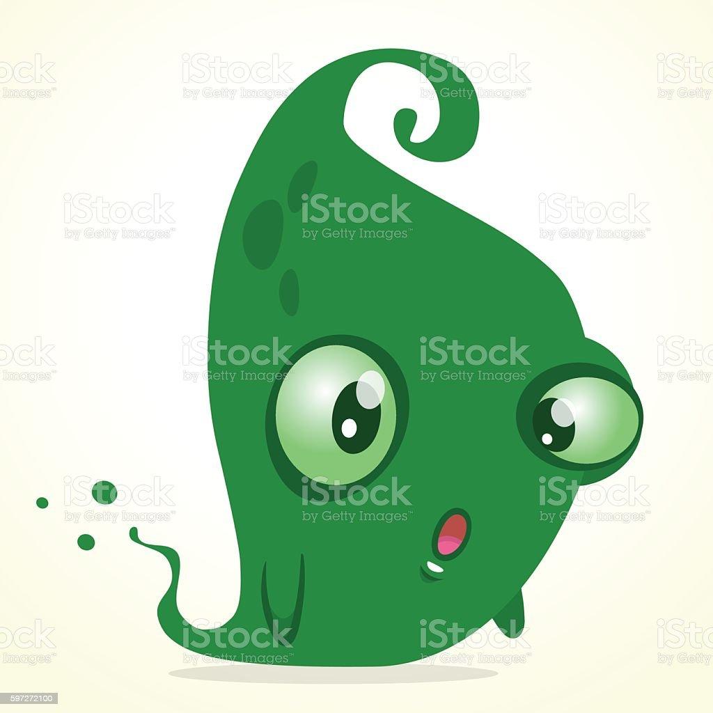 Cute cartoon green ghost. Vector Halloween monster Lizenzfreies cute cartoon green ghost vector halloween monster stock vektor art und mehr bilder von charakterkopf