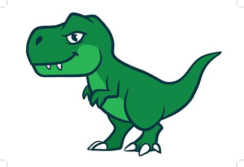 Cute cartoon green t-rex