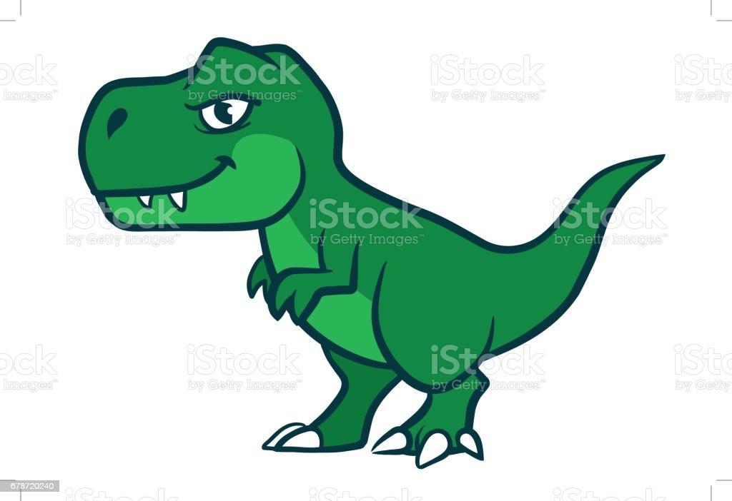 Bonito dos desenhos animados verde t-rex - ilustração de arte em vetor