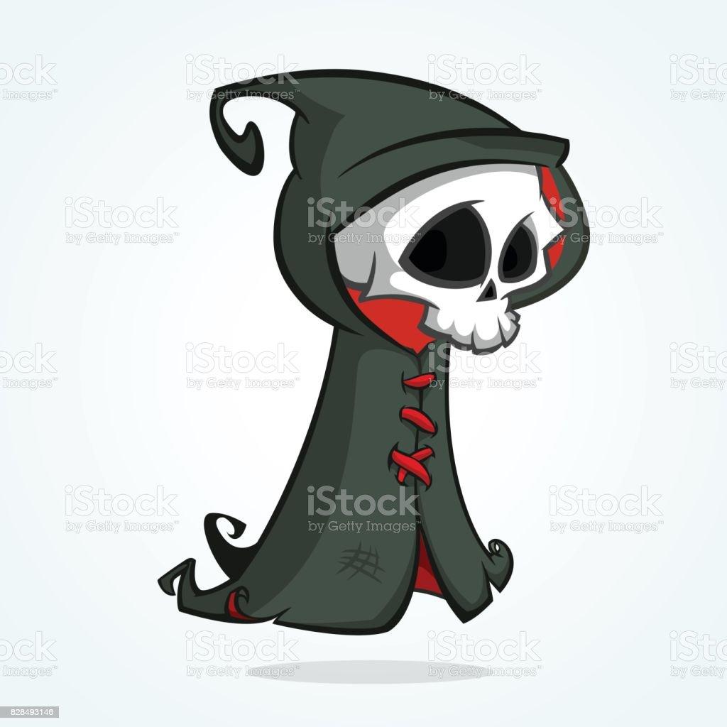 かわいい漫画の死神は白で隔離かわいいハロウィーン スケルトン死文字