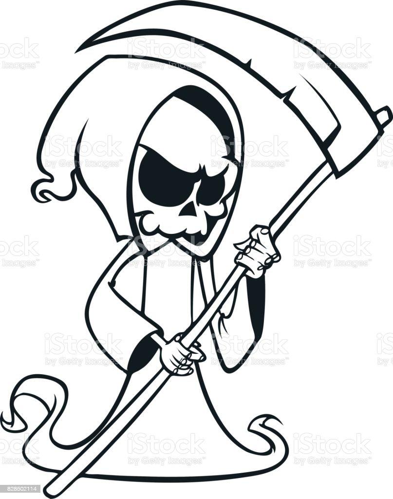 Sevimli çizgi üzerinde Beyaz Izole Tırpan Ile ölüm Meleği Boyama