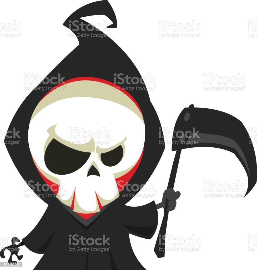 royalty free drawing of cute grim reaper clip art vector images rh istockphoto com Grim Reaper Graphics grim reaper clipart free