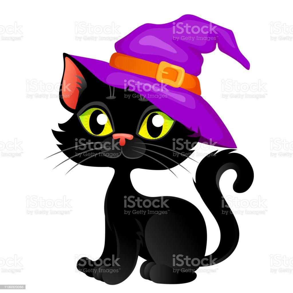 Chat Noir Halloween Dessin Animé Mignon Chapeau Halloween