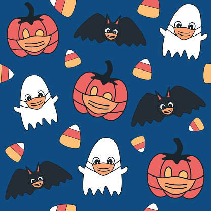 Cute cartoon halloween seamless vector pattern background illustration with ghost, pumpkin and bats with protective face mask