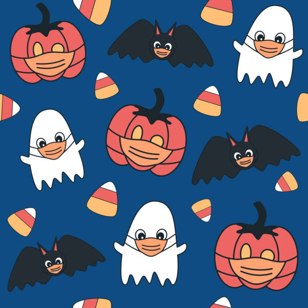 Cute cartoon halloween seamless vector pattern background illustration with ghost, pumpkin and bats with protective face mask Cute cartoon halloween seamless vector pattern background illustration with ghost, pumpkin and bats with protective face mask halloween covid stock illustrations