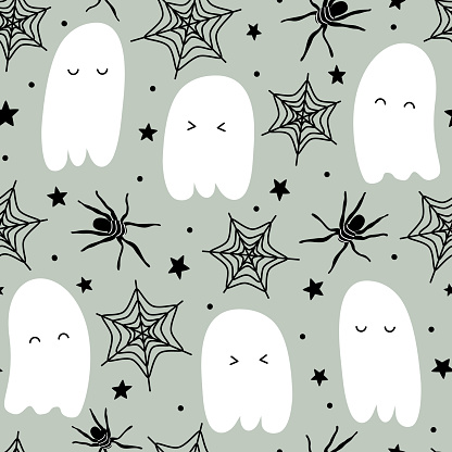 Cute cartoon halloween seamless vector pattern background illustration with ghost, bones, spider and stars