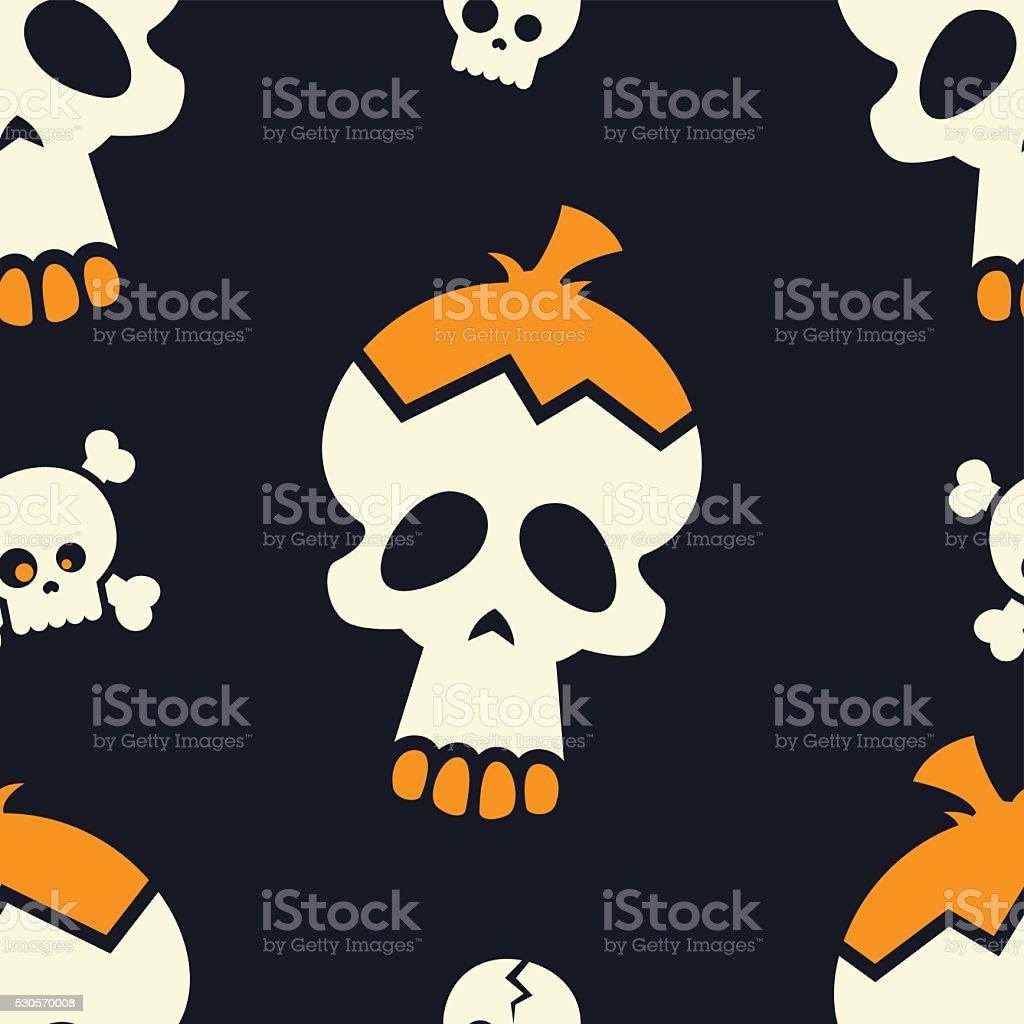 Cute Cartoon Halloween Skulls - Vector Seamless Pattern vector art illustration