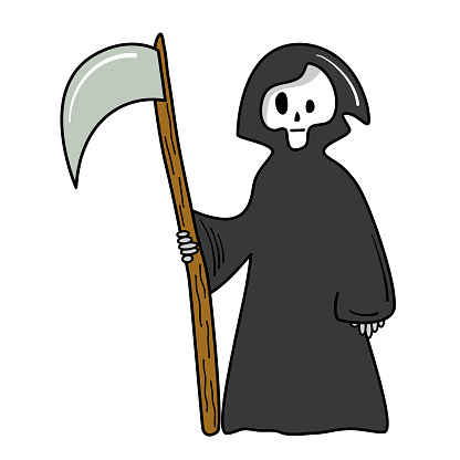 cute cartoon halloween vector card illustration with grim reaper isolated on white background