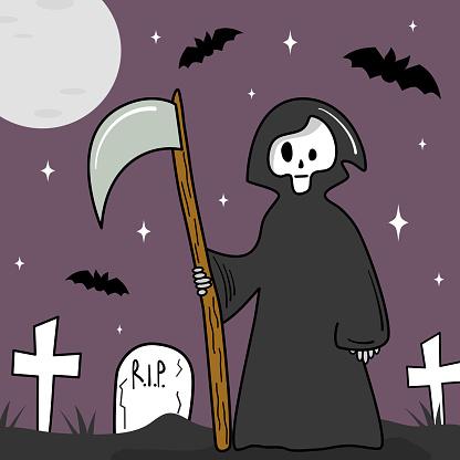 cute cartoon halloween vector card illustration with grim reaper