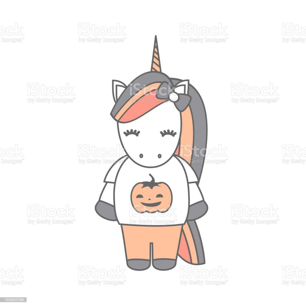 Cute Cartoon Halloween Vector Illustration With Unicorn