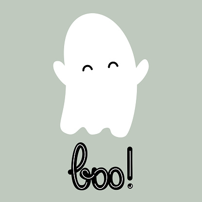cute cartoon hand drawn lettering boo text with baby ghost funny holiday vector illustration in flat style