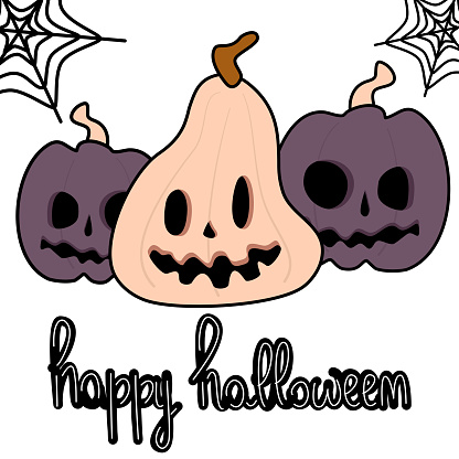 cute cartoon hand drawn lettering happy halloween text with pumpkins funny holiday vector illustration