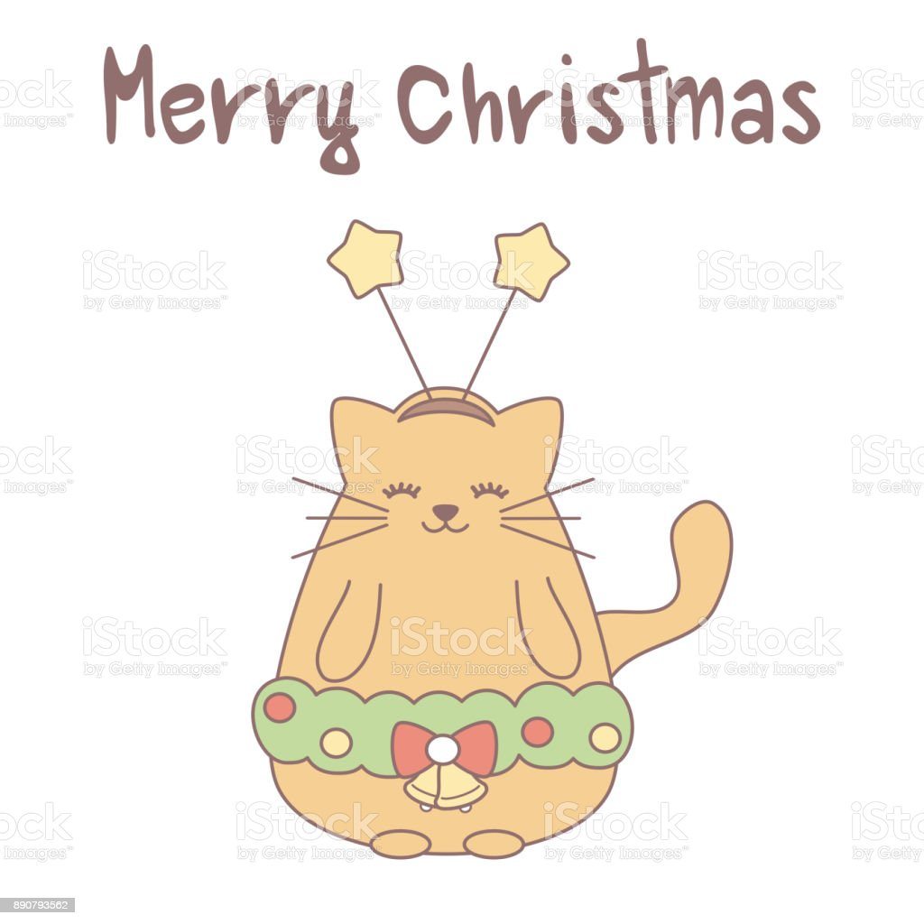 cute cartoon hand drawn lettering merry christmas vector card with orange cat vector art illustration