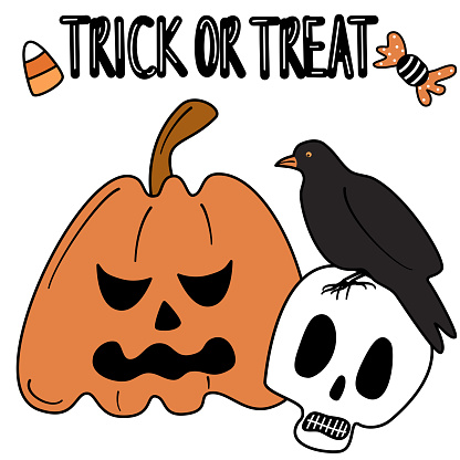 cute cartoon hand drawn lettering trick or treat halloween vector card illustration with pumpkin, skull and crow