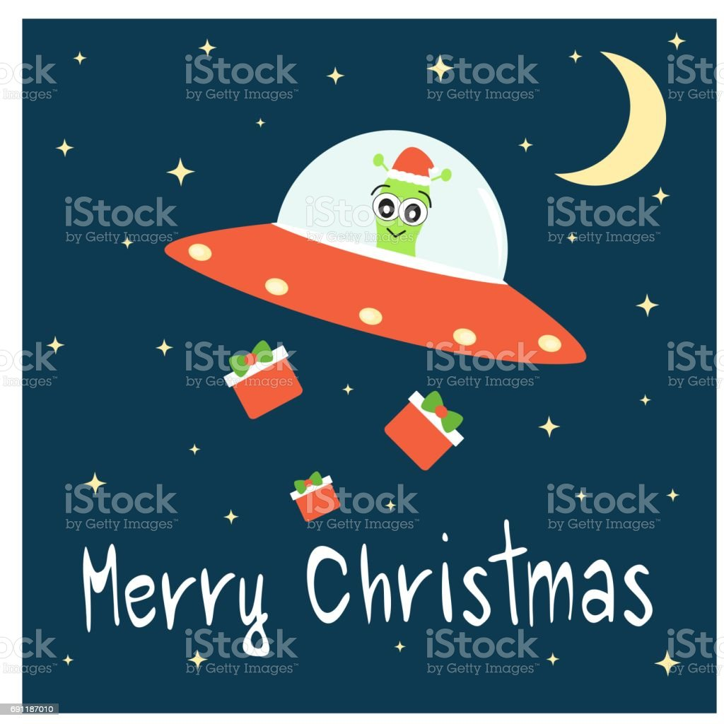 cute cartoon hand drawn merry christmas lettering greeting card with alien on his spaceship bringing gift box vector funny holiday illustration vector art illustration