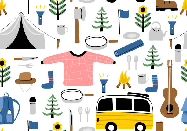 Cute cartoon hand drawn scandinavian style camping equipment symbols and icons. Vector illustration, camp clothes, shoes, guitar, food, tent, flashlight and tree. Seamless pattern. Cute cartoon hand drawn scandinavian style camping equipment symbols and icons. Vector illustration, camp clothes, shoes, guitar, food, tent, flashlight and tree. Seamless pattern. adventure patterns stock illustrations