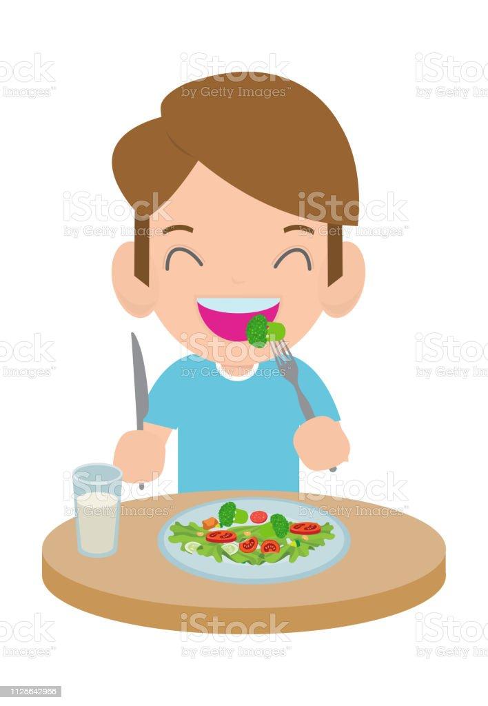 Ilustración De Niño Feliz De Dibujos Animados Lindo Comer Ensalada Los Niños Y Saludable Alimento Vegetal Vector Ilustración Y Más Vectores Libres De Derechos De Adulto Istock