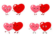 Cute cartoon heart characters. Funny couple in love vector illustration. Valentine Day vector card set